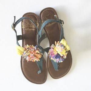💐 Fergalicious ❉ Chiffon Flower Sandals ❉ Denim ❉